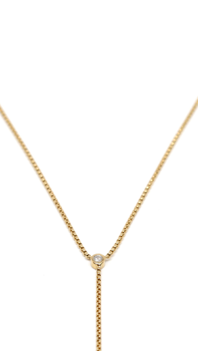 JNB Gold Single Stone Lariat Necklace