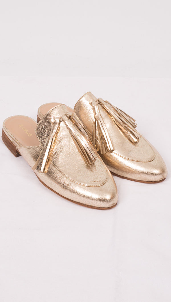 Kaanas Metallic Gold Tasseled Mules