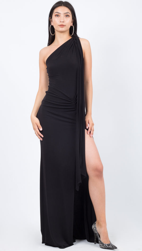 Katie May One Shoulder Long Black Leg Slit Gown