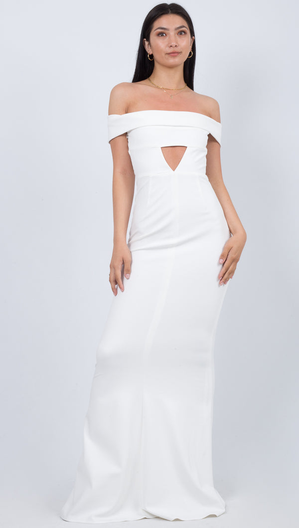 Katie May Legacy White Long Gown With Off The Shoulder Sleeves