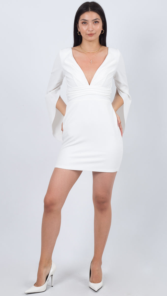 Katie May White Long Sleeve Tight Mini Dress