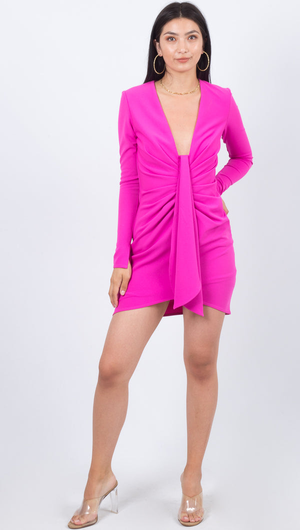 Next Road Long Sleeve Dress - Electric Pink