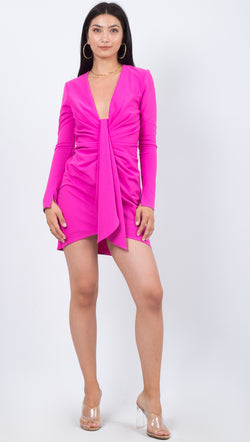 Katie May Long Sleeve Deep V Tight Mini Hot Pink Dress