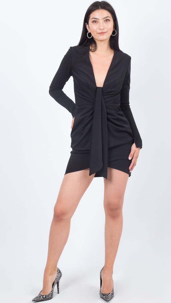 Katie May Long Sleeve Deep V Mini Tight Black Dress