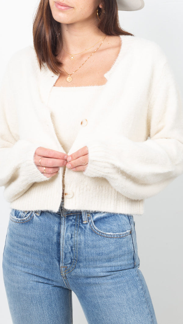 Vagabond Ivory Knit Cropped Cardigan and Tank Set