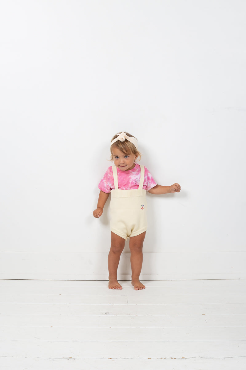 High Waist Knit Suspender Bloomer with Peach Patch - Strawberry Patch