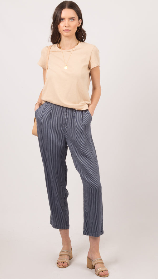 Lacausa Navy Pinstripe Cropped Pant
