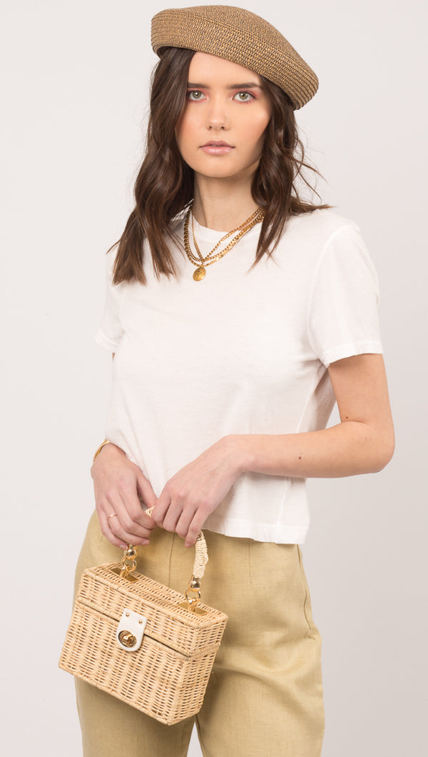 Lacausa White Relaxed Fit Crew Neckline Tee