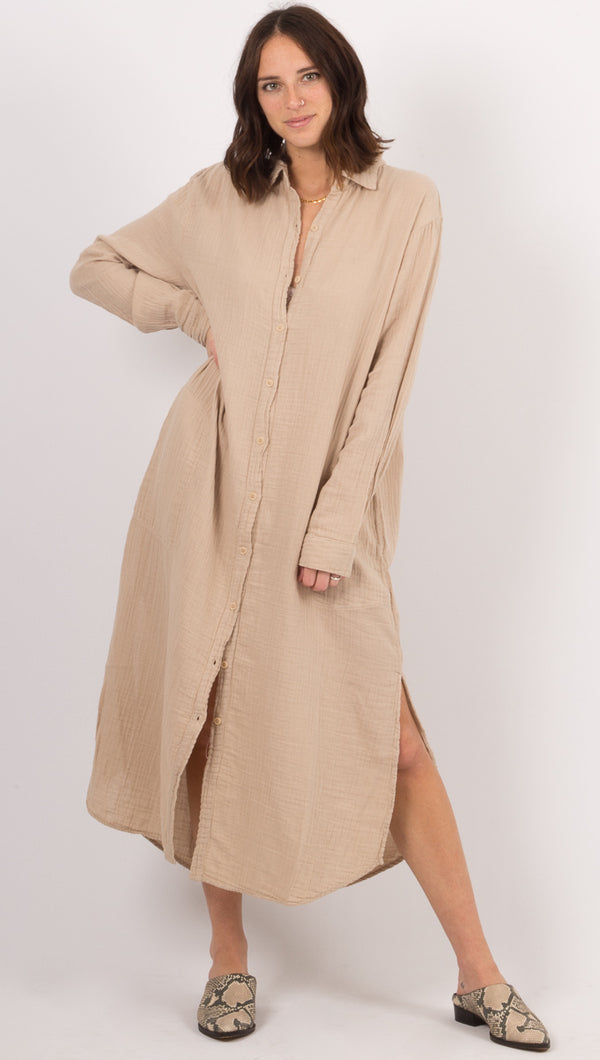 Soft Gauze Shirtdress - Oatmeal