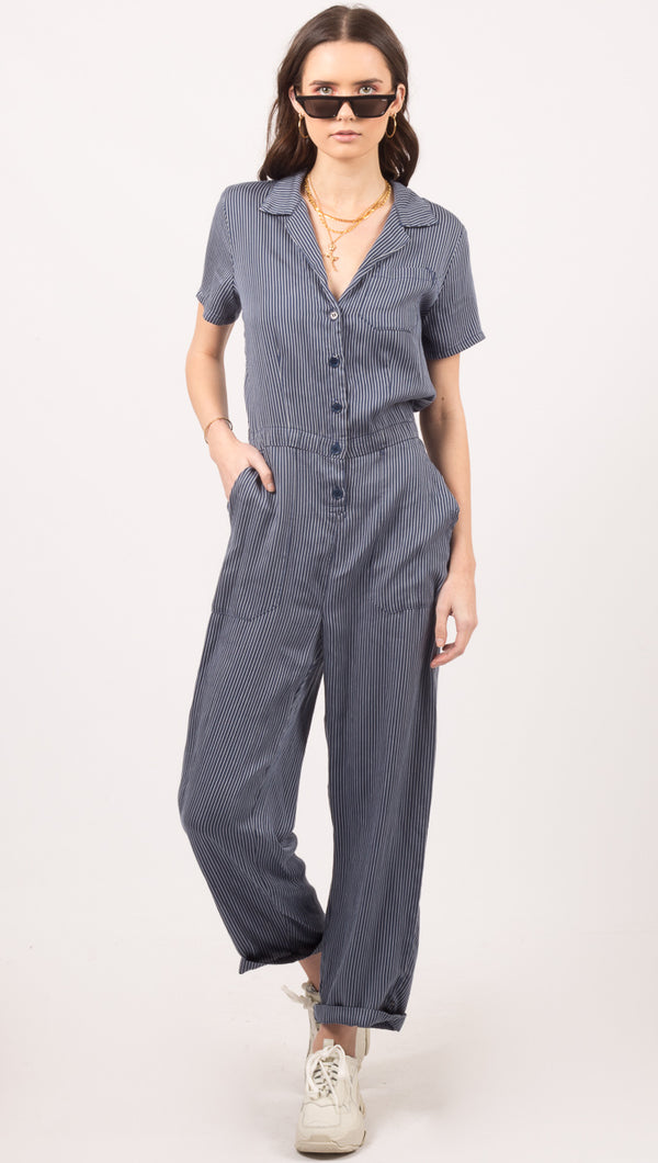 Striped Montana Jumpsuit - Pinstripe