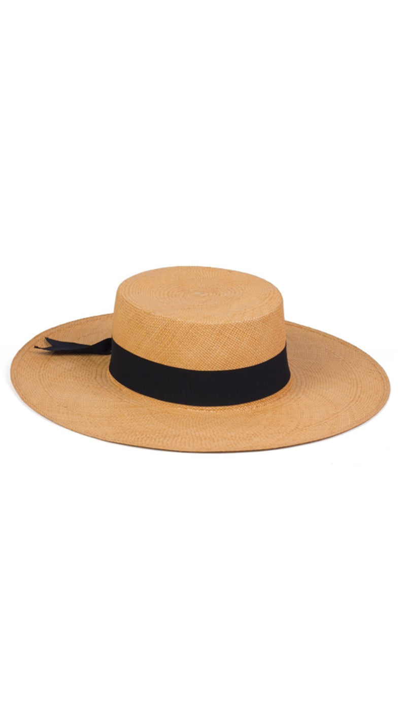 Lack Of Color Straw Boater with Black Bow Tie Band