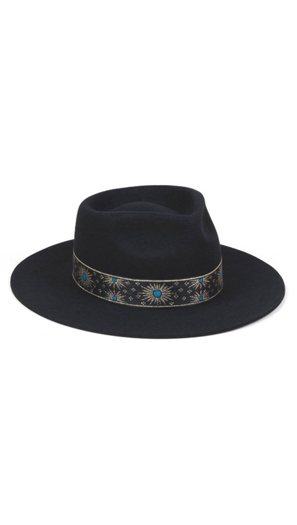 Lack Of Color Black Fedora with Patterned Band
