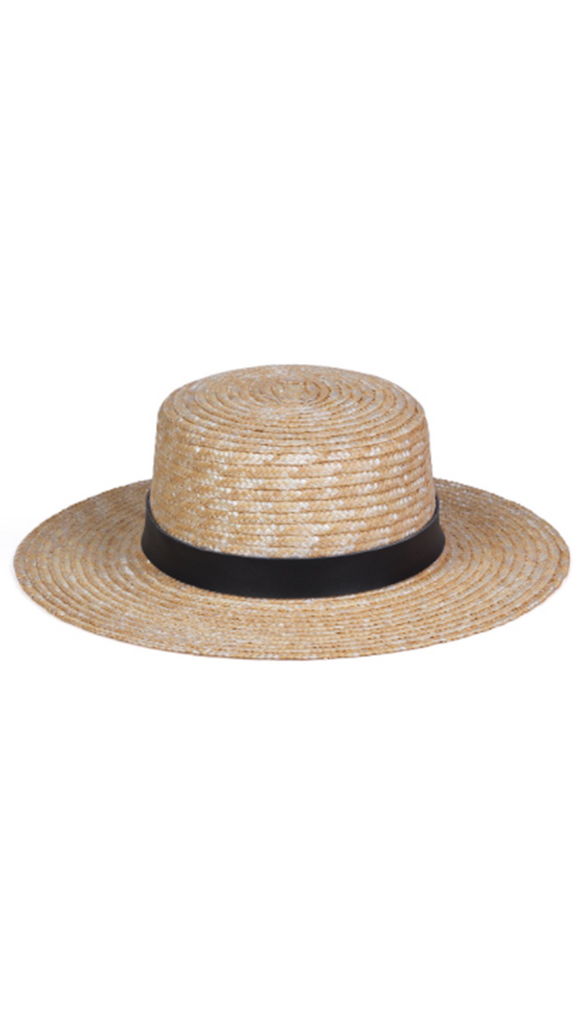 Straw Boater Hat with black leather band