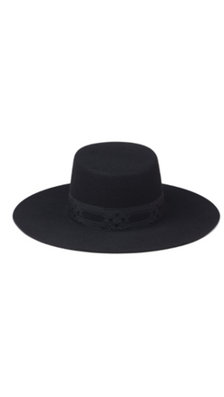 Black Wool Boater Hat