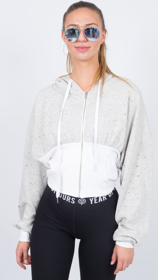 Thrasher Bodice Hoodie - Pebble Heather/White