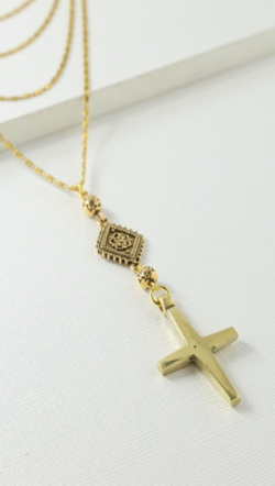 Gold Prelayered Cross Necklace