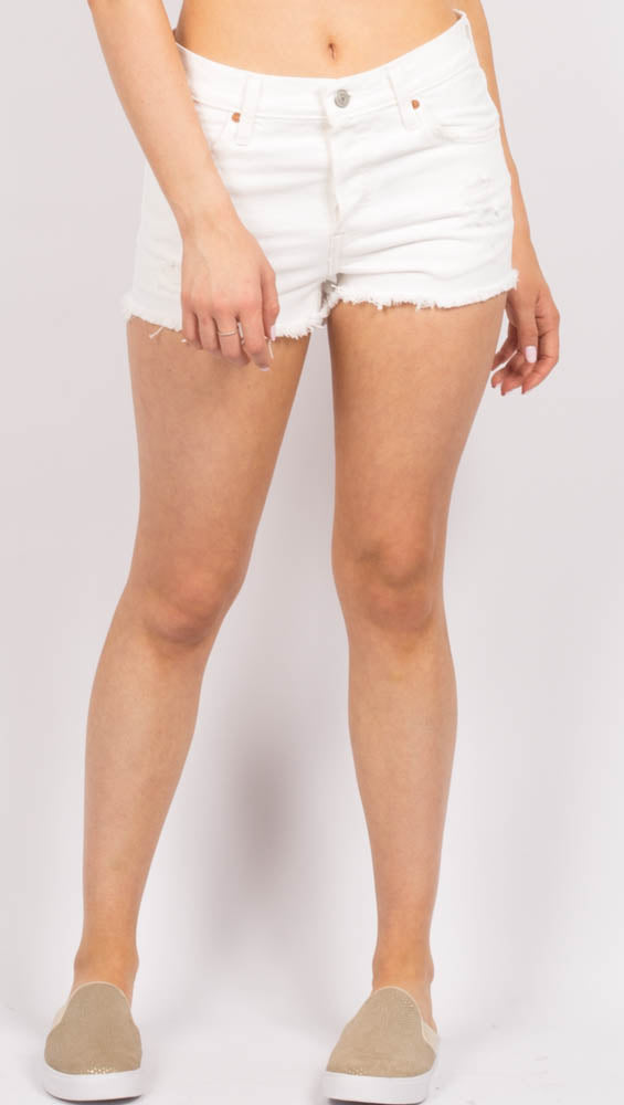 White High Rise Cut Off Shorts