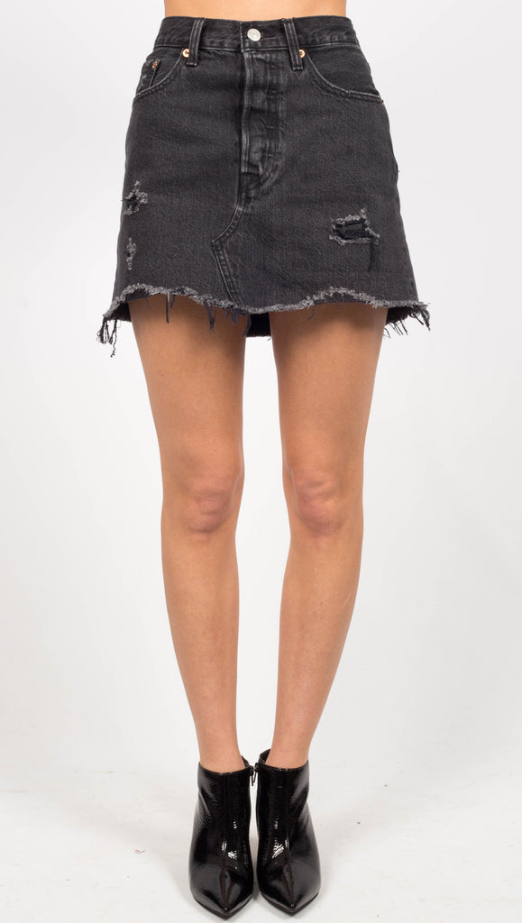 Black Distressed High Waist Skirt