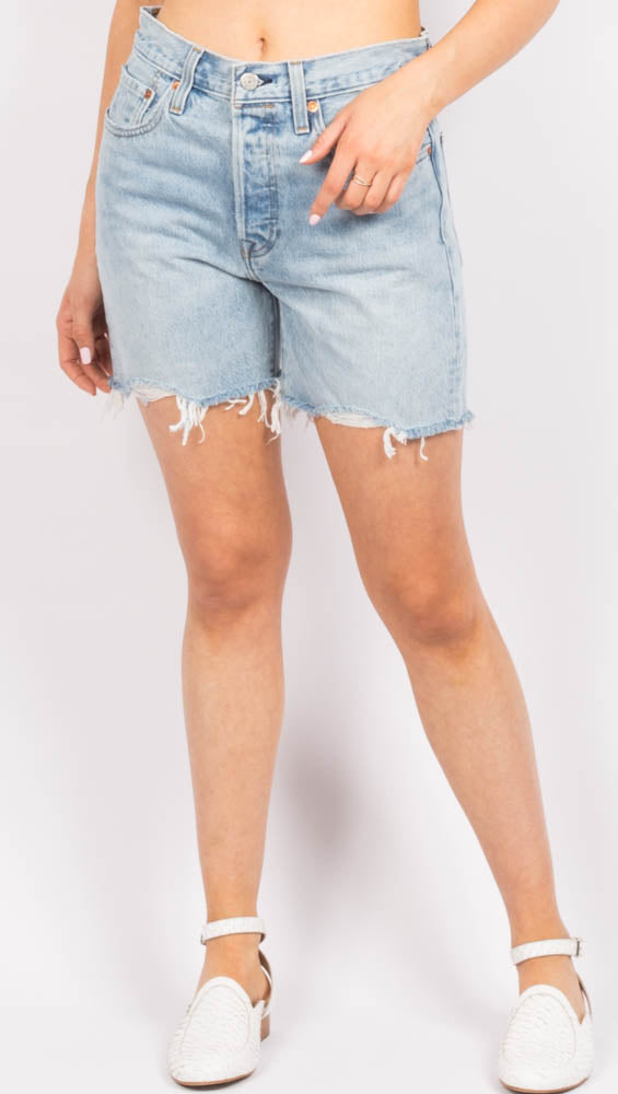 High Waist Blue Cutoff Denim Shorts