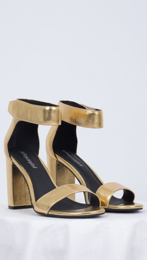 Jeffrey Campbell Metallic Gold Heels With Ankle Strap