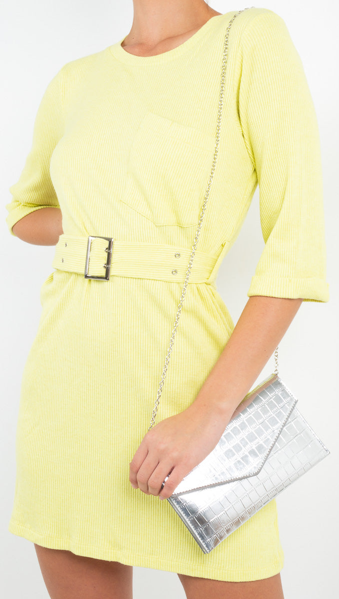 Line and Dot yellow ribbed mini dress
