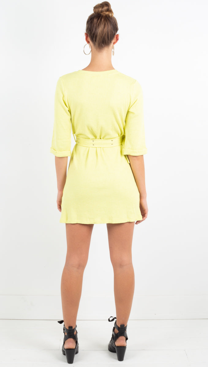 Luna Rib Knit Mini Dress- Lemon