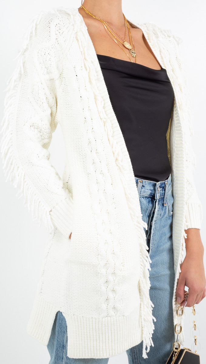 Line and Dot cream long cable knit sweater