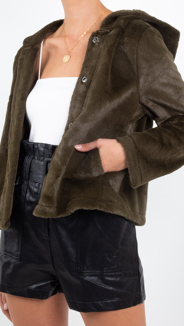 Andi Reversible Faux Fur Jacket - Olive