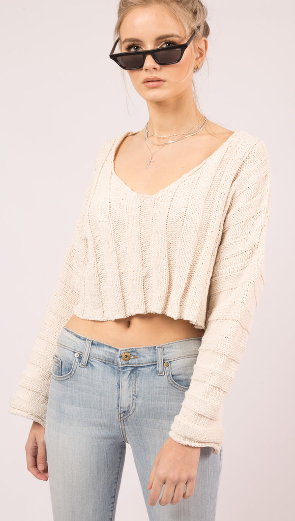 Line And Dot Cream Cropped Long Sleeve Sweater