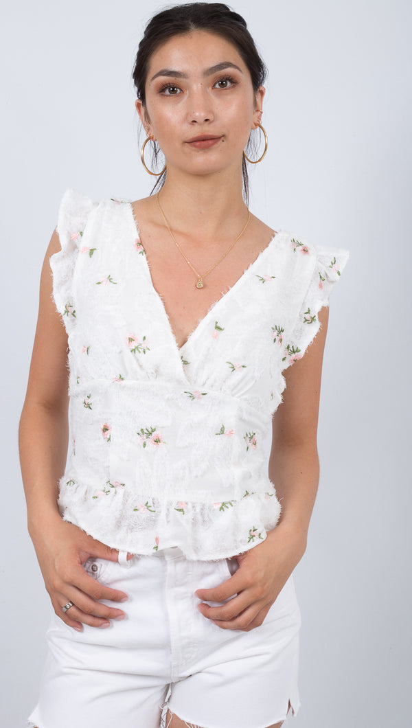 Chiara Ruffled Top - White
