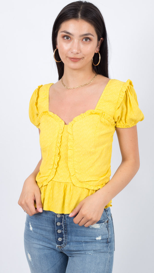 Line & Dot Yellow Ruffled Puff Sleeve Top