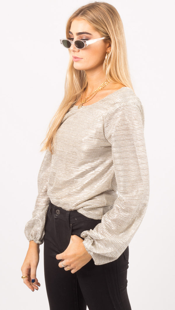 Liza Draped Back Top - Silver