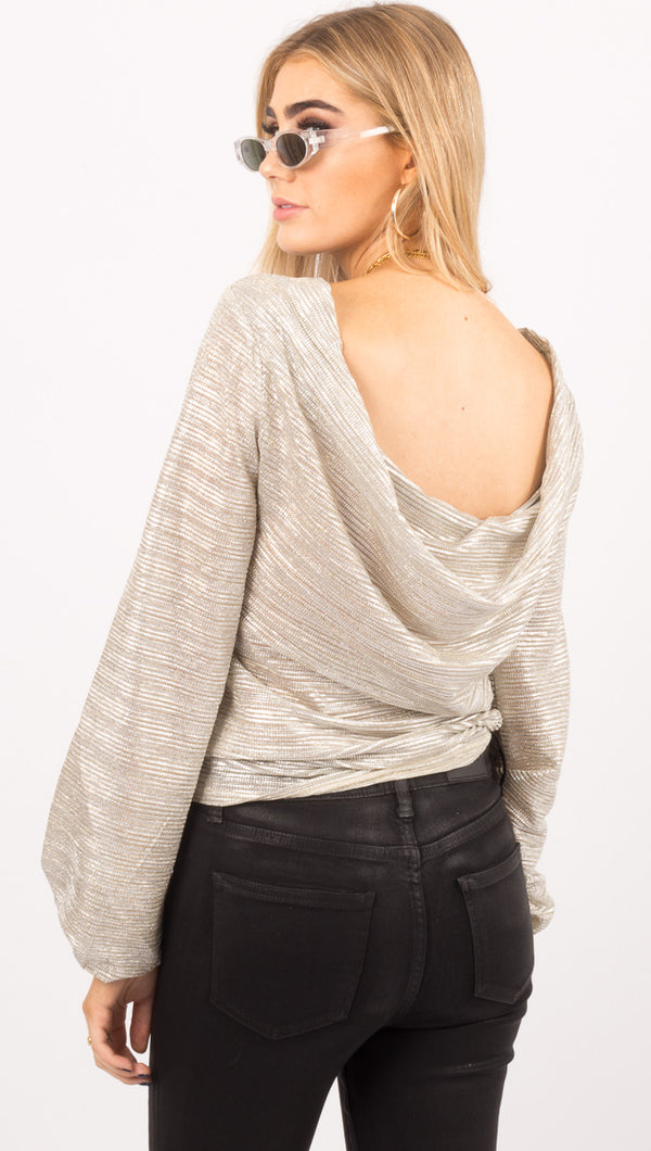 Line And Dot Metallic Silver Draped Back Long Sleeve Top