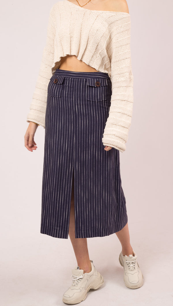 Torri Pocket Skirt - Navy/White