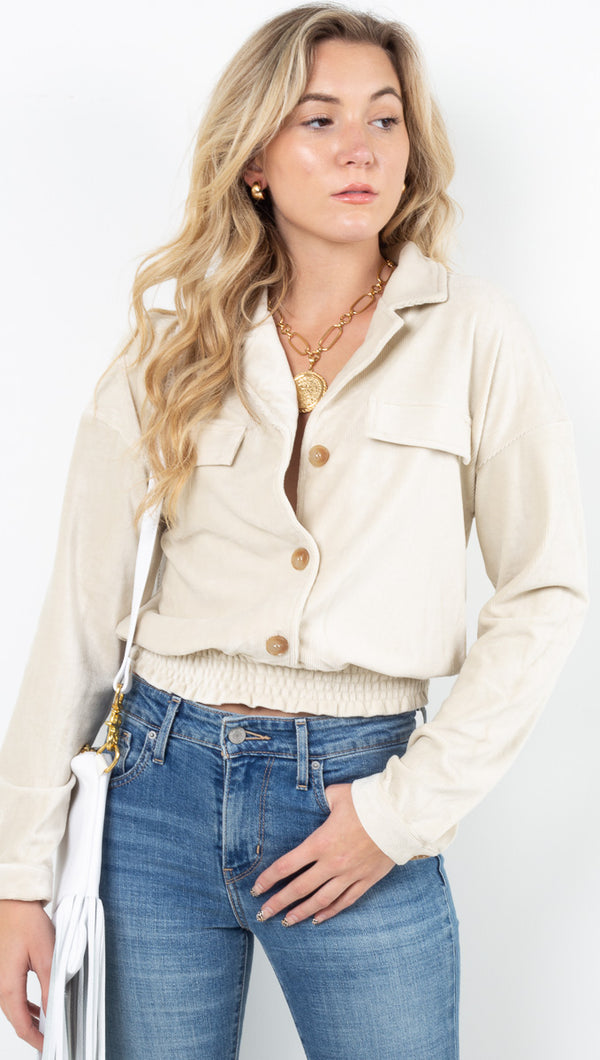 Lia Baby Rib Collared Top - Cream