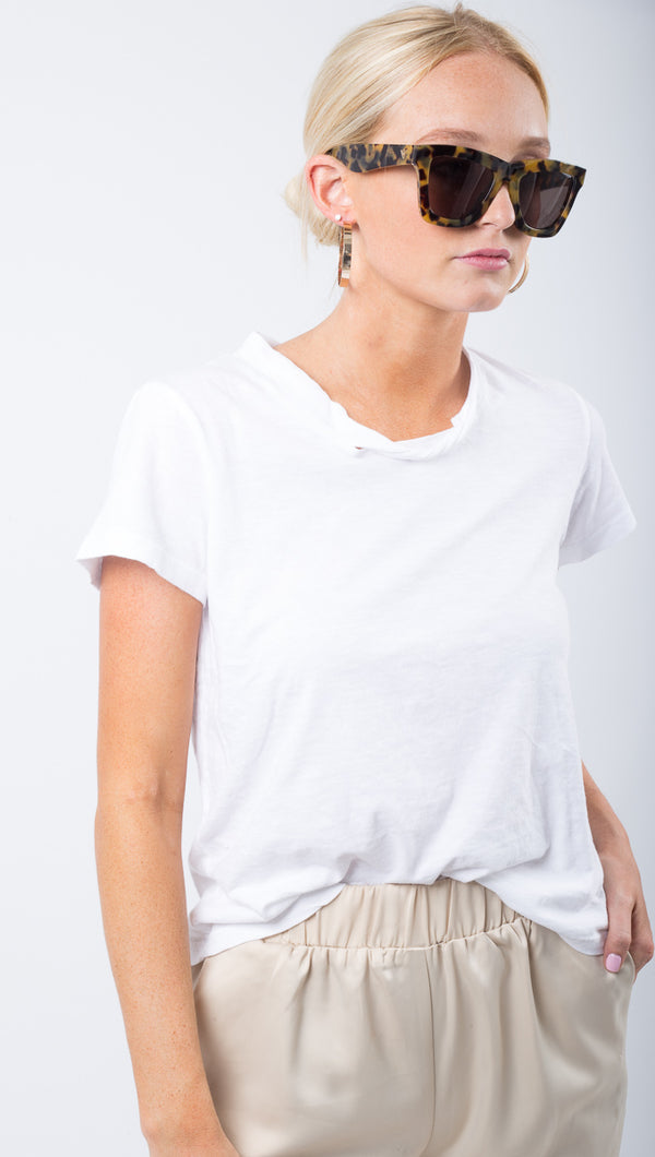 LNA White Tee With Cutout Detail