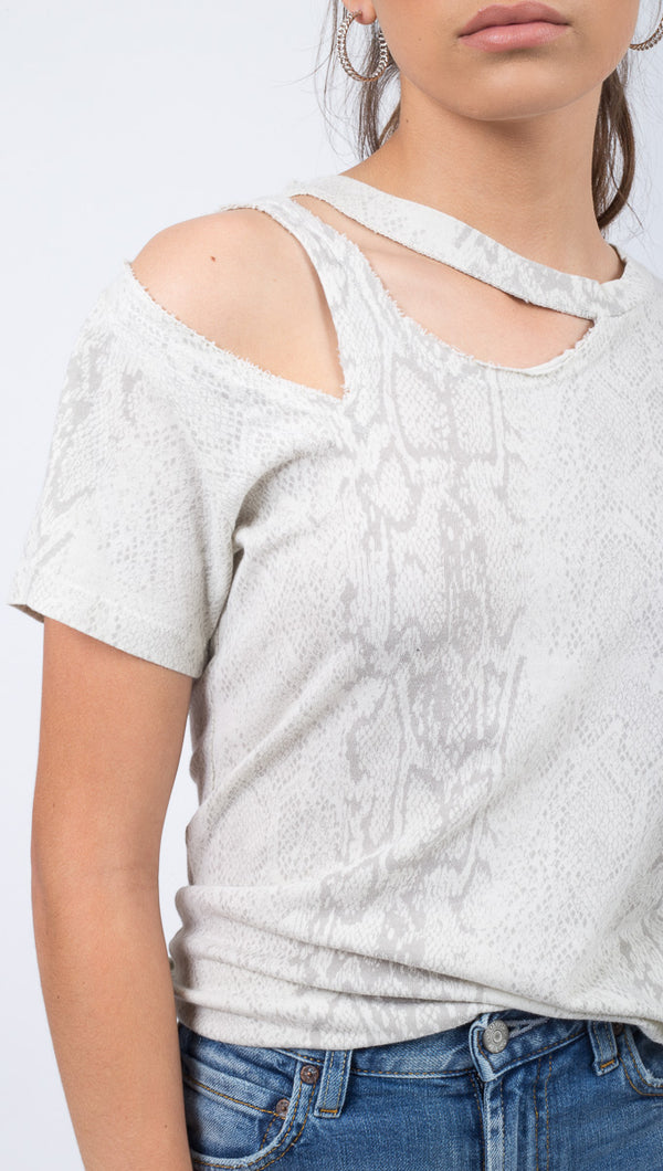 LNA White Snakeskin Cutout Shoulder T-Shirt