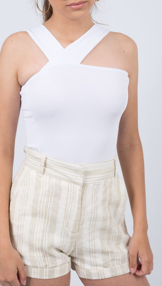 Ziggy Rib Top - White