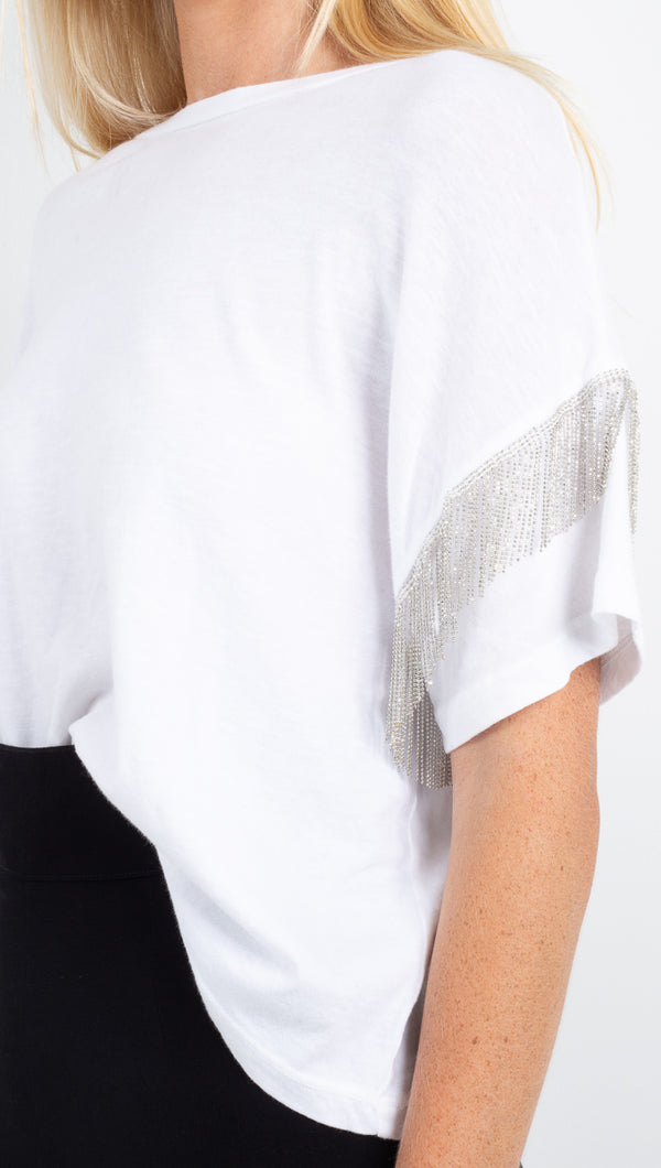 LMA white tee with silver fringe detailing on sleeves