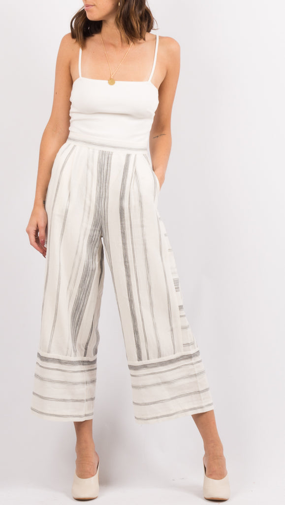 White/Black Stripe Pants