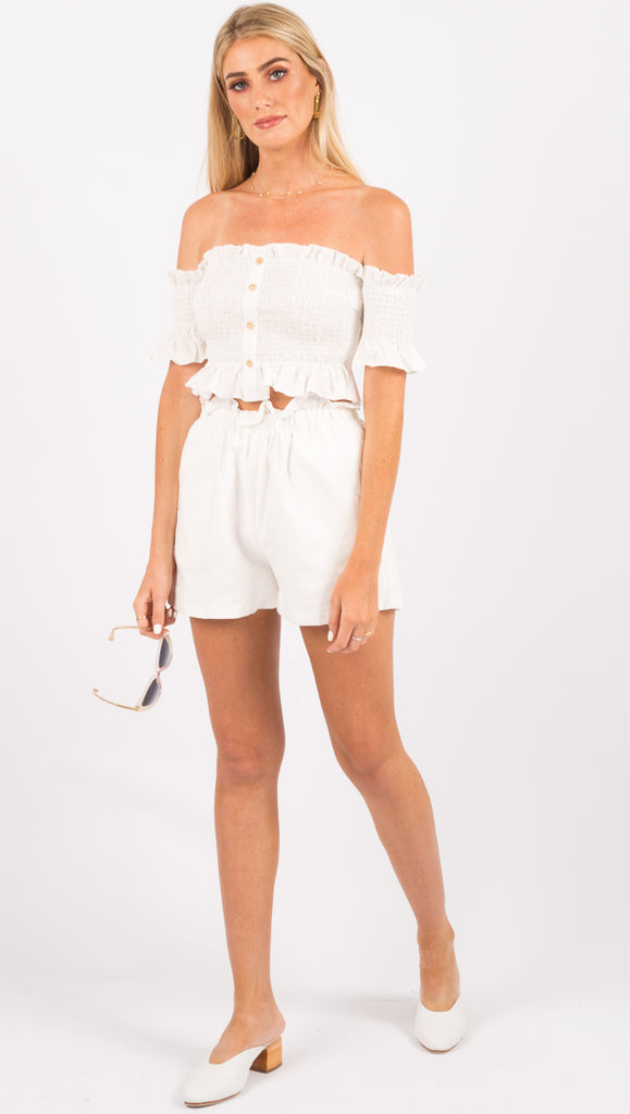 Lost in Lunar White Ruffle Shorts