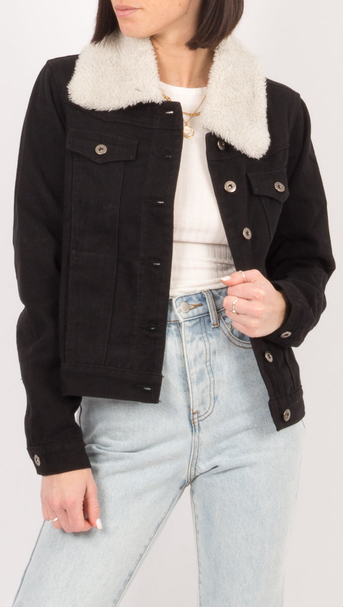 Lost In Lunar Black Denim Jacket with Faux Fur Collar