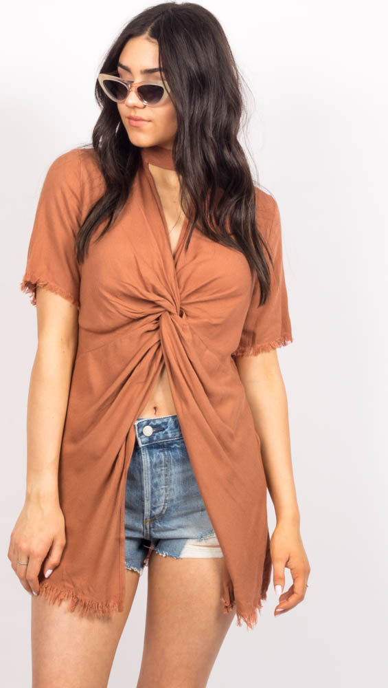 Tan Short Sleeve Front Twist Top