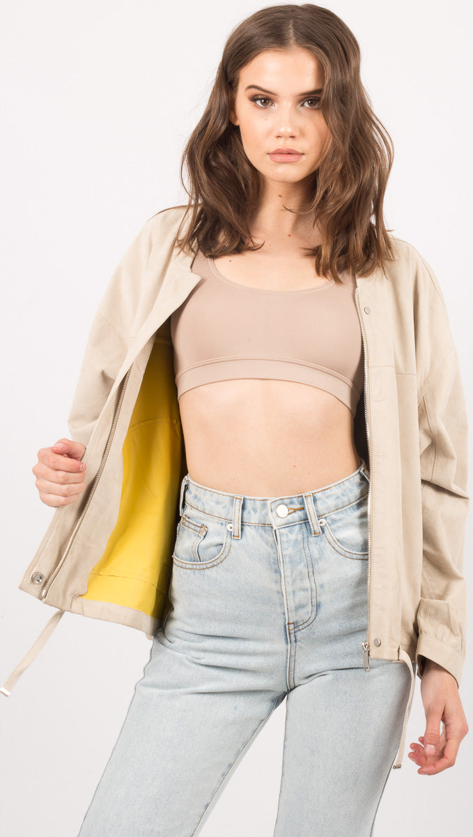 Amy Oversized Bomber - Beige/Yellow