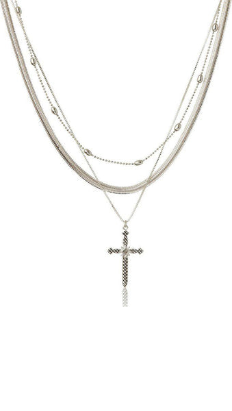 Serpent Cross Charm Necklace - Silver