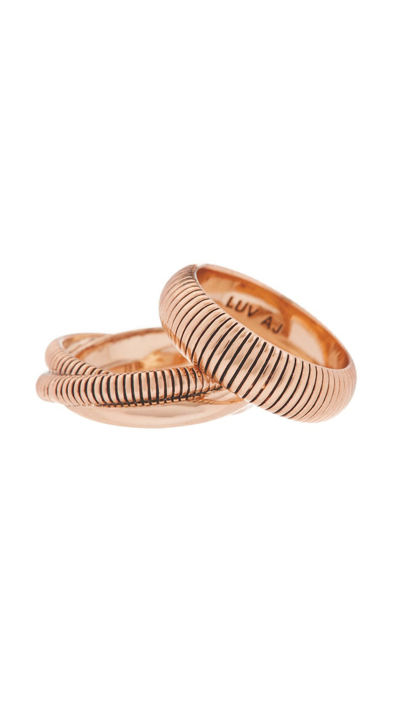 LUV AJ Rose Gold Ring Set