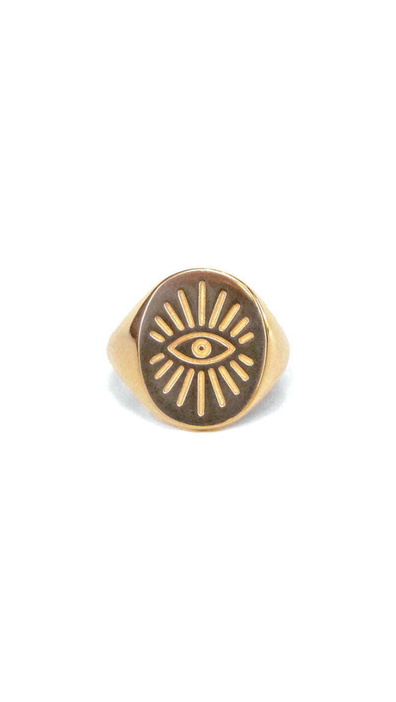 LVL Collective Gold Evil Eye Signet Ring