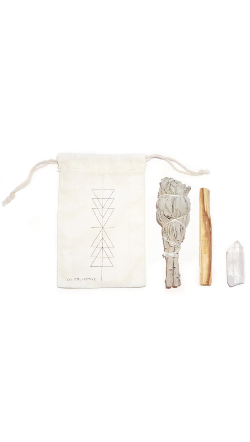LVL Good Vibes Ritual Kit: White Sage, Clear Quartz, Palo Santo