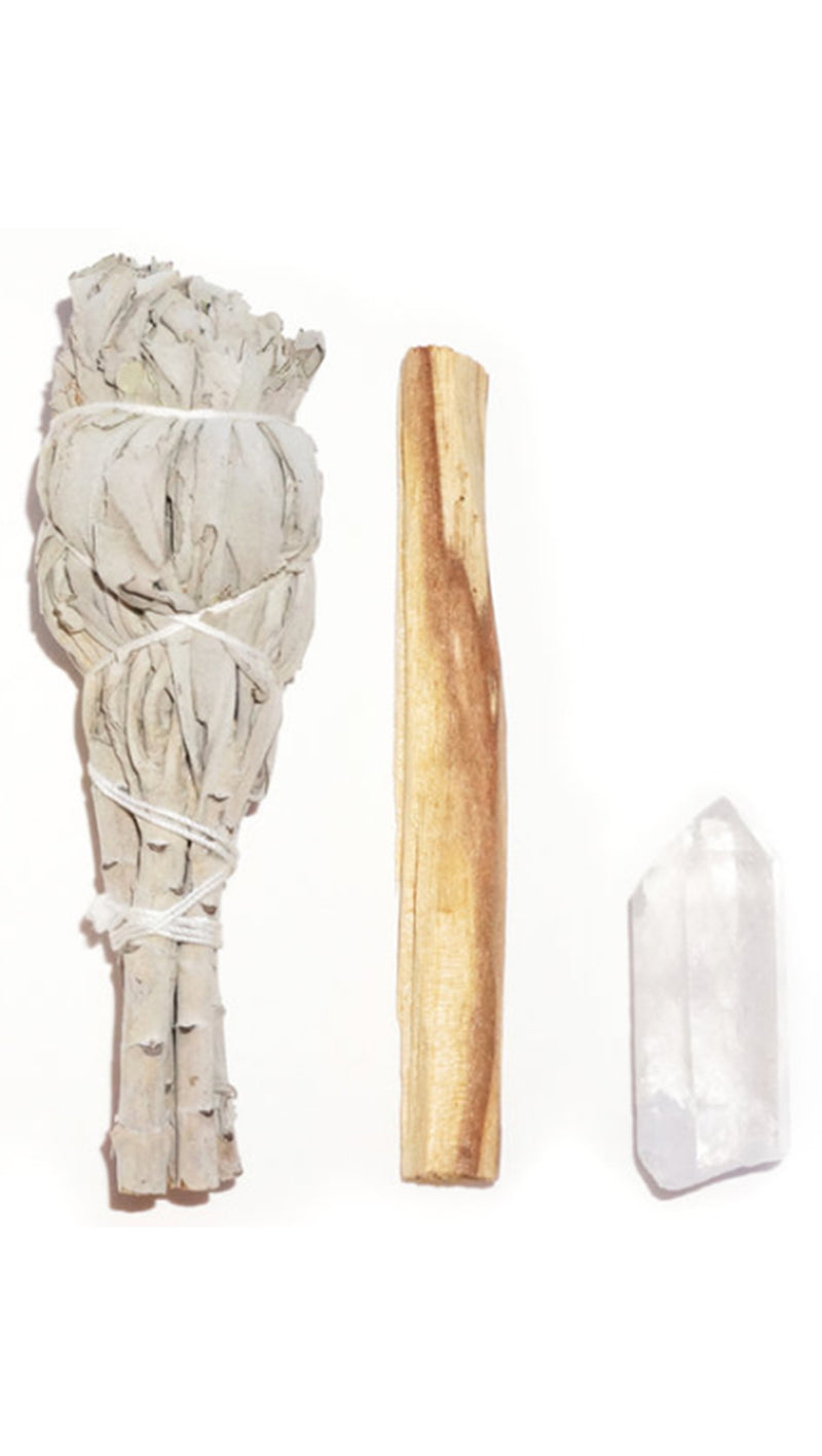 Good Vibes Ritual Kit - White Sage/Clear Quartz/Palo Santo