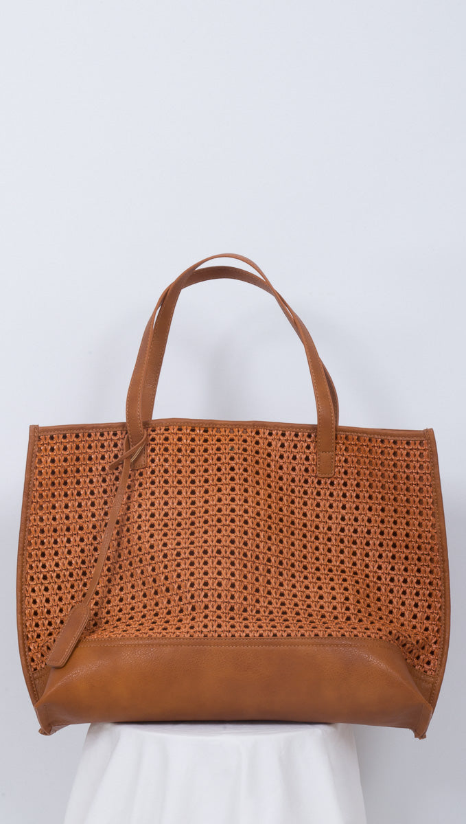 Marie Woven Tote Bag - Brown